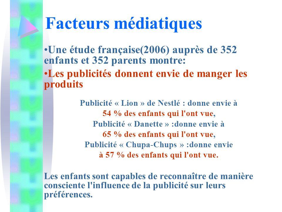 Facteurs médiatiques Une étude française(2006) auprès de 352 enfants et 352 parents montre: Les publicités donnent envie de manger les produits.