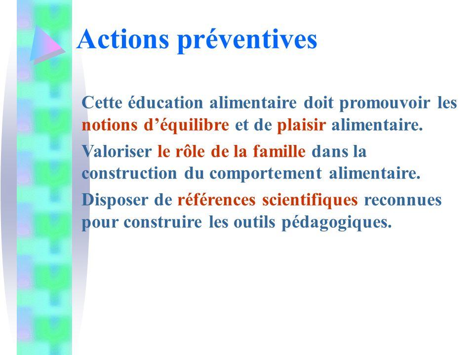 Actions préventives Cette éducation alimentaire doit promouvoir les notions d'équilibre et de plaisir alimentaire.