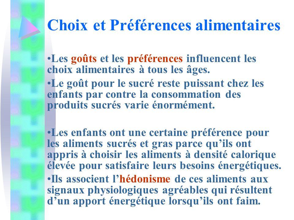 Choix et Préférences alimentaires