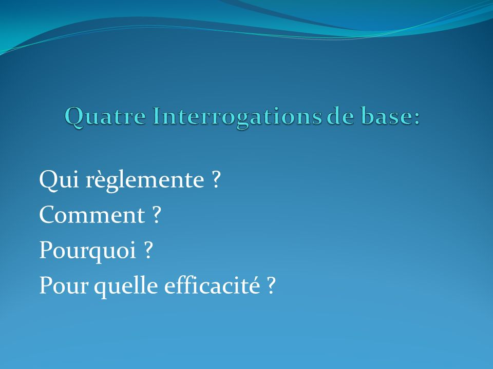 Quatre Interrogations de base:
