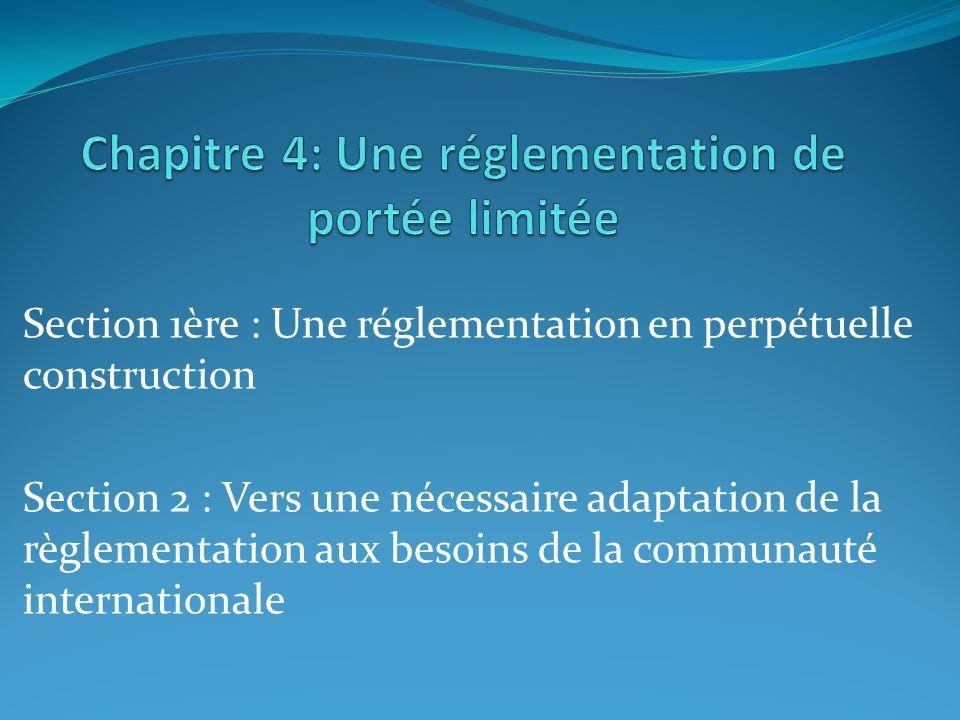 Chapitre 4: Une réglementation de portée limitée