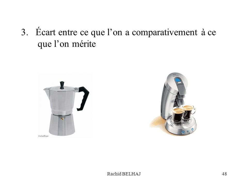 3. Écart entre ce que l'on a comparativement à ce que l'on mérite