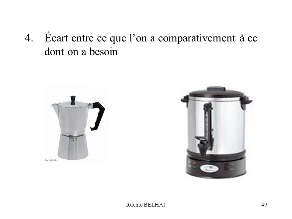 4. Écart entre ce que l'on a comparativement à ce dont on a besoin