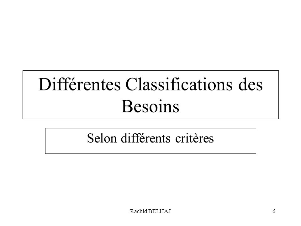 Différentes Classifications des Besoins