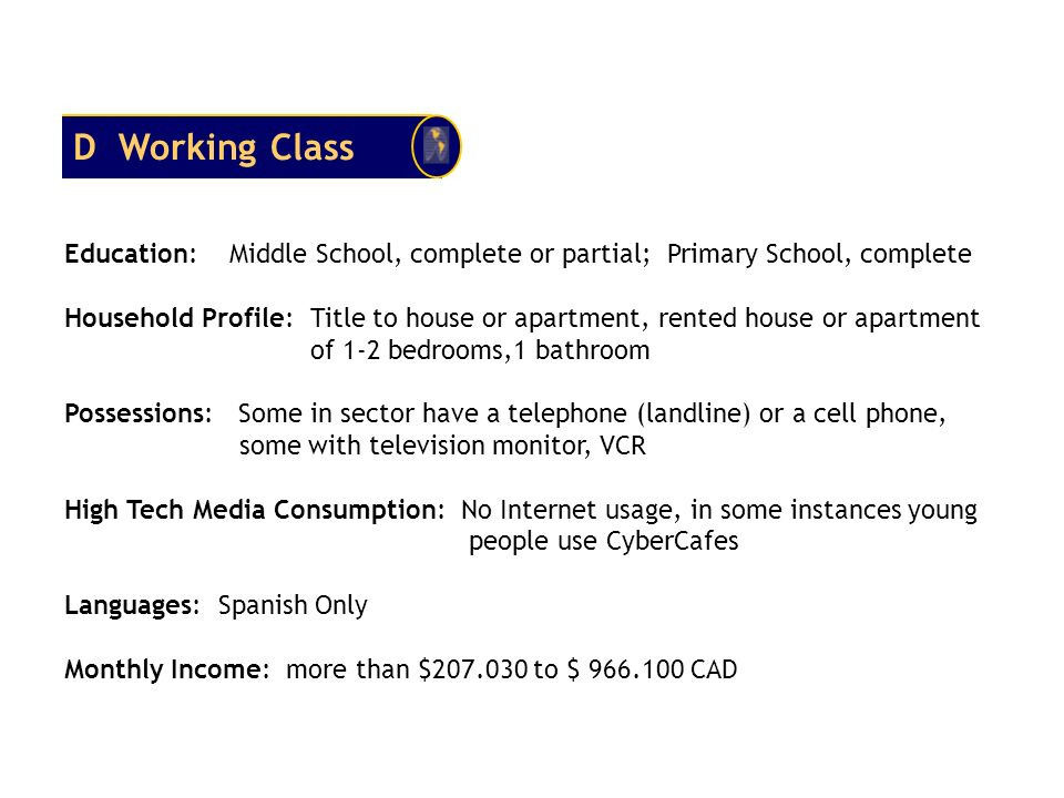 D Working Class Education: Middle School, complete or partial; Primary School, complete.