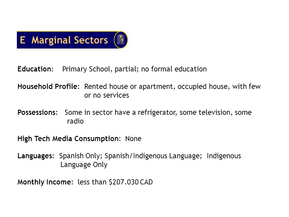 E Marginal Sectors Education: Primary School, partial; no formal education.