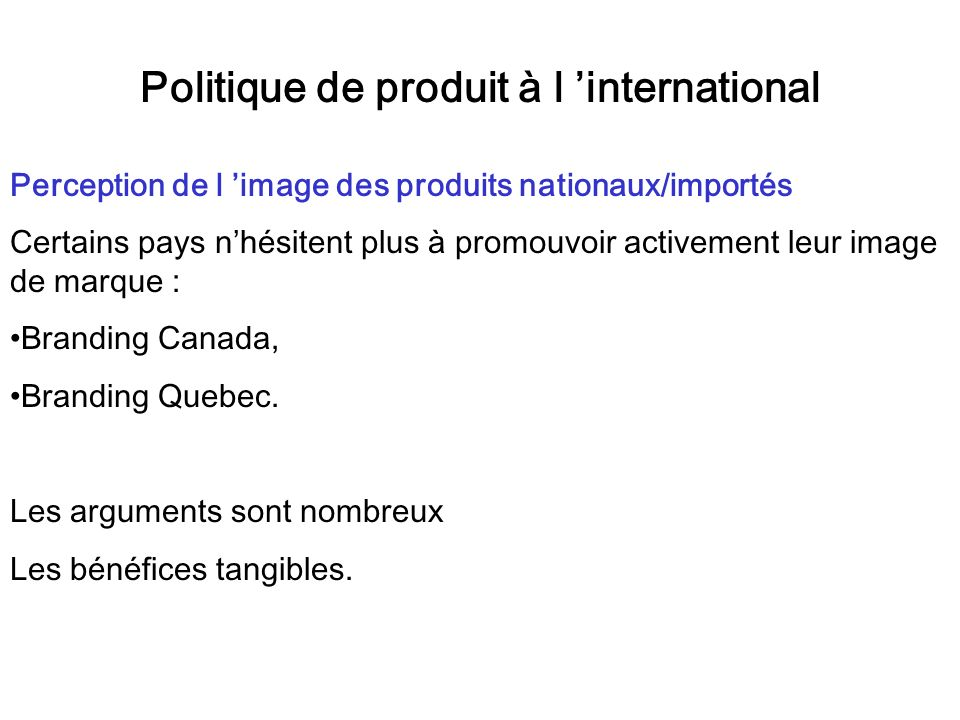 Politique de produit à l 'international