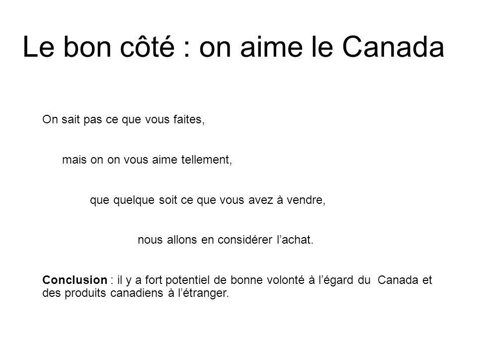 Le bon côté : on aime le Canada