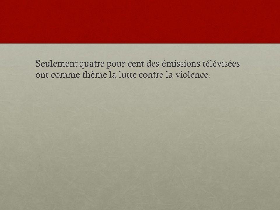 Seulement quatre pour cent des émissions télévisées ont comme thème la lutte contre la violence.