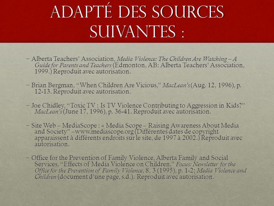 Adapté des sources suivantes :