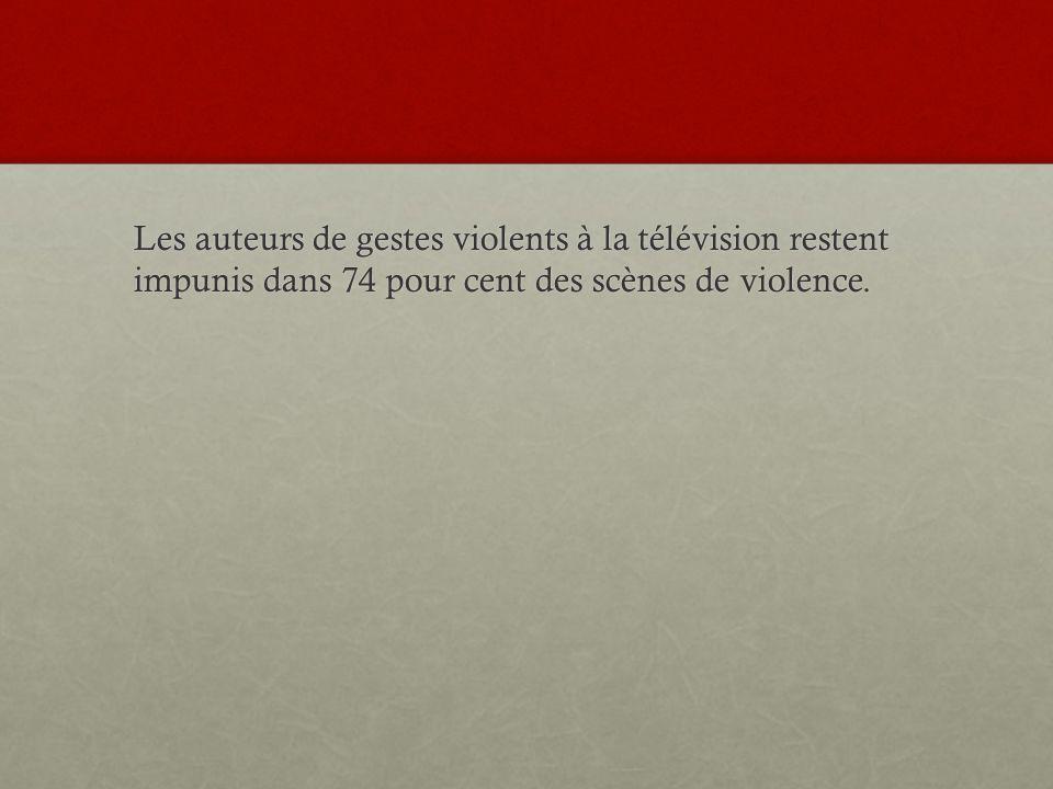 Les auteurs de gestes violents à la télévision restent impunis dans 74 pour cent des scènes de violence.