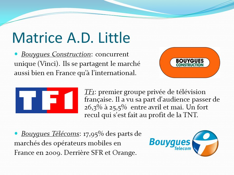 Matrice A.D. Little Bouygues Construction: concurrent