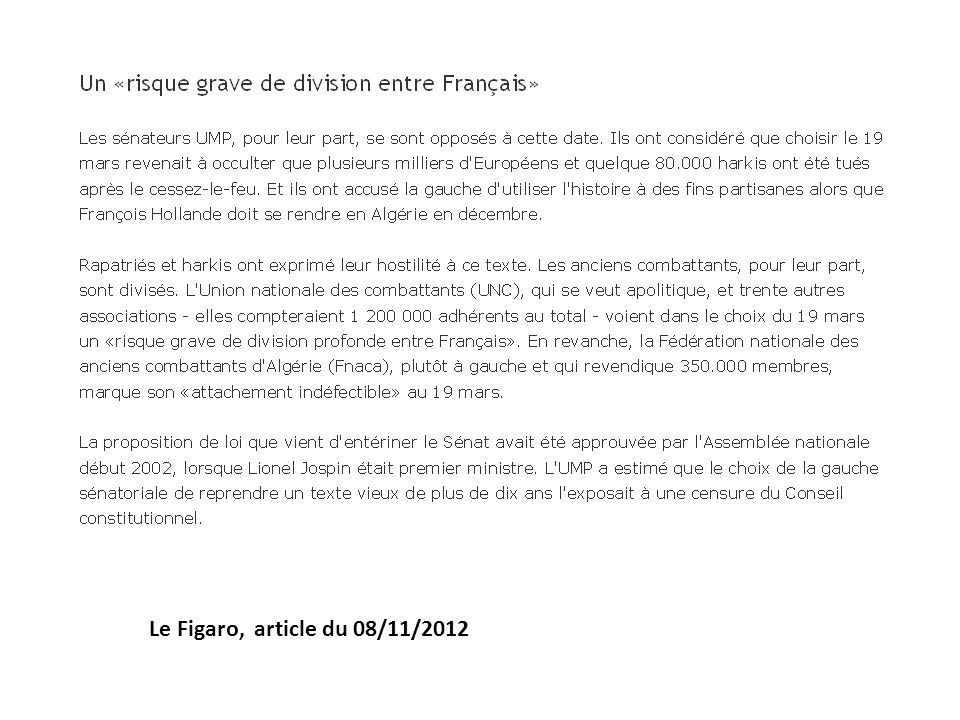 Le Figaro, article du 08/11/2012