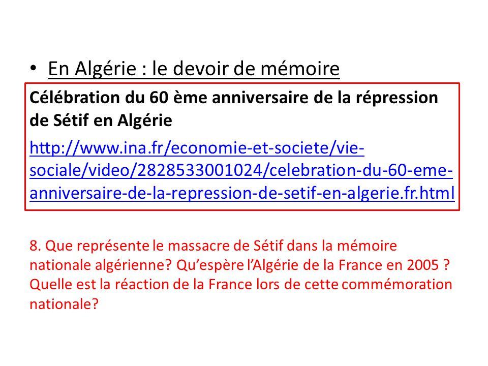 En Algérie : le devoir de mémoire