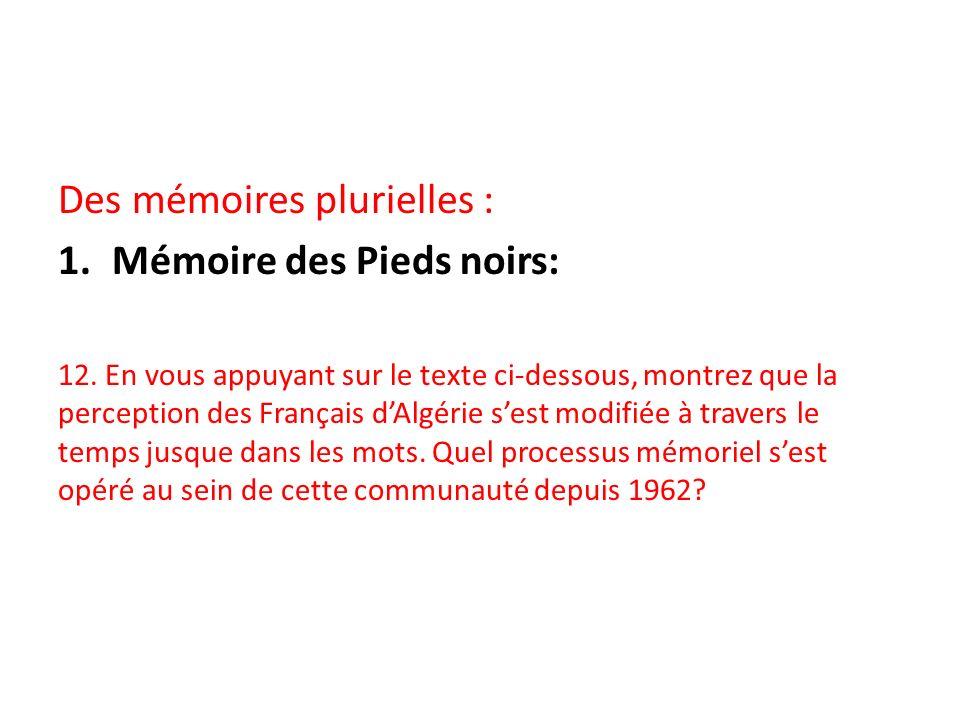 Des mémoires plurielles : Mémoire des Pieds noirs: