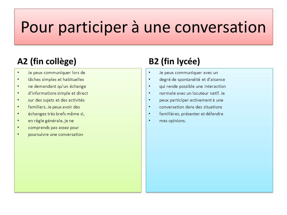 Pour participer à une conversation