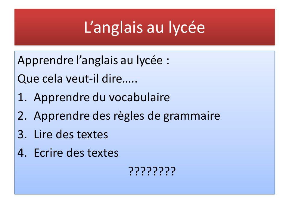 L'anglais au lycée Apprendre l'anglais au lycée :