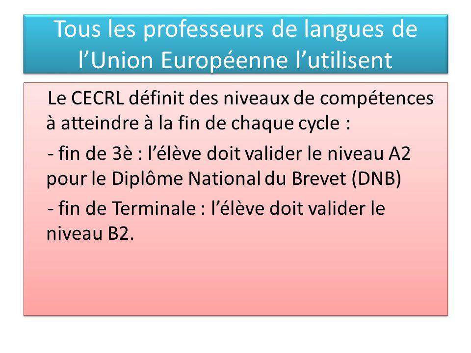 Tous les professeurs de langues de l'Union Européenne l'utilisent