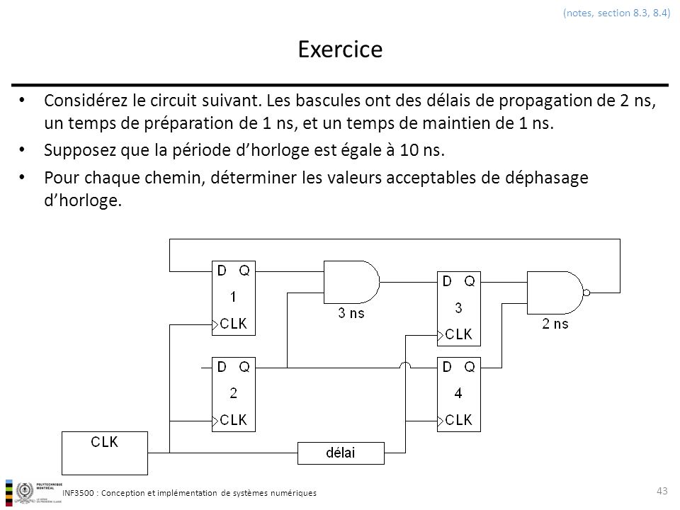 (notes, section 8.3, 8.4) Exercice.