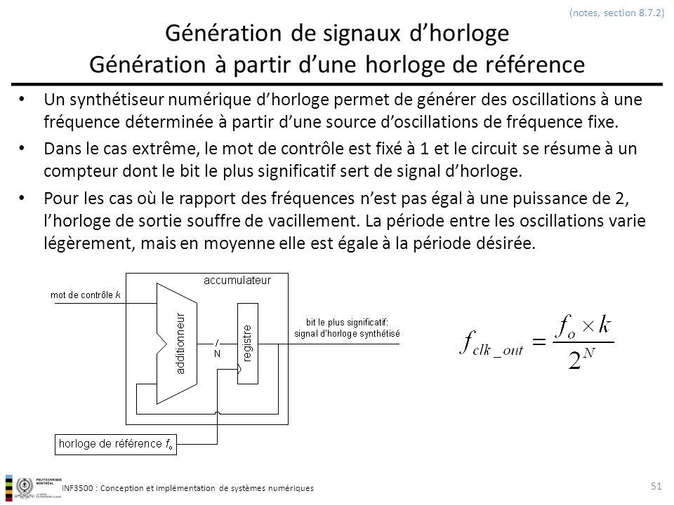 (notes, section 8.7.2) Génération de signaux d'horloge Génération à partir d'une horloge de référence.