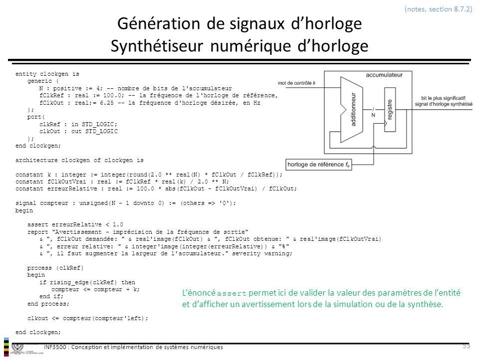 Génération de signaux d'horloge Synthétiseur numérique d'horloge