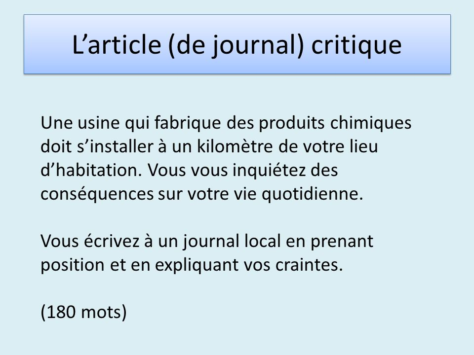 L'article (de journal) critique