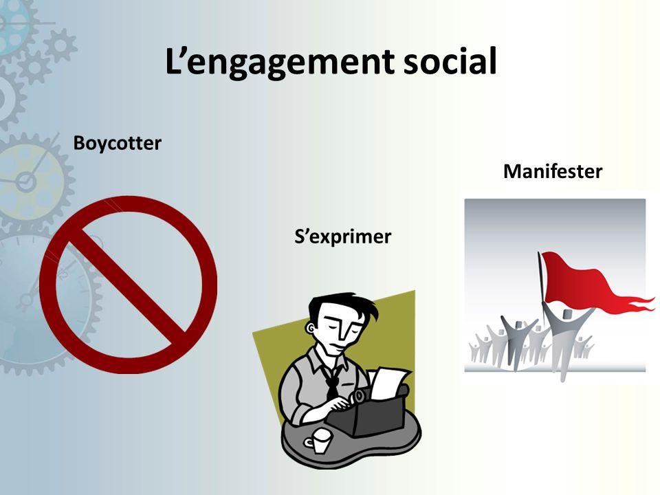 L'engagement social Boycotter Manifester S'exprimer