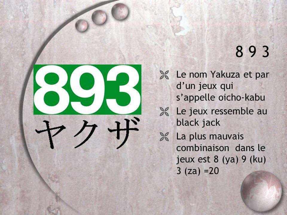 8 9 3 Le nom Yakuza et par d'un jeux qui s'appelle oicho-kabu