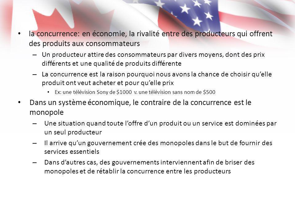 la concurrence: en économie, la rivalité entre des producteurs qui offrent des produits aux consommateurs