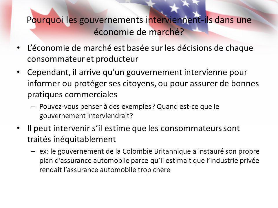 Pourquoi les gouvernements interviennent-ils dans une économie de marché