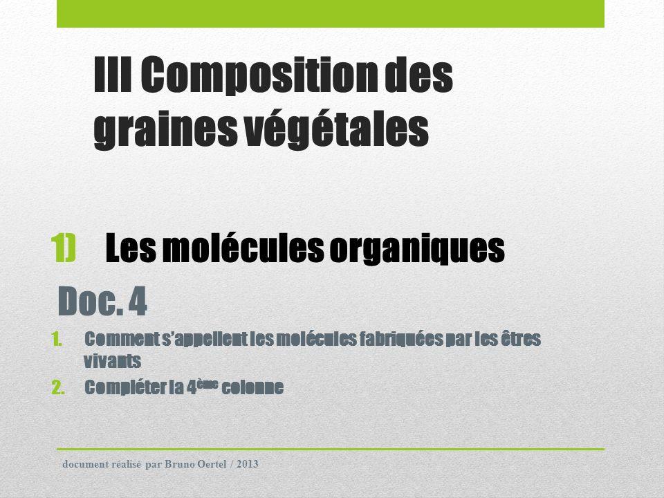 III Composition des graines végétales