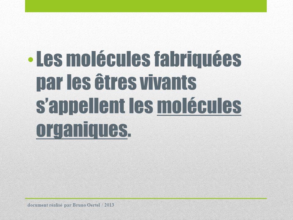 Les molécules fabriquées par les êtres vivants s'appellent les molécules organiques.