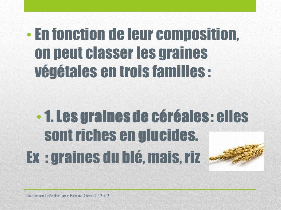 1. Les graines de céréales : elles sont riches en glucides.
