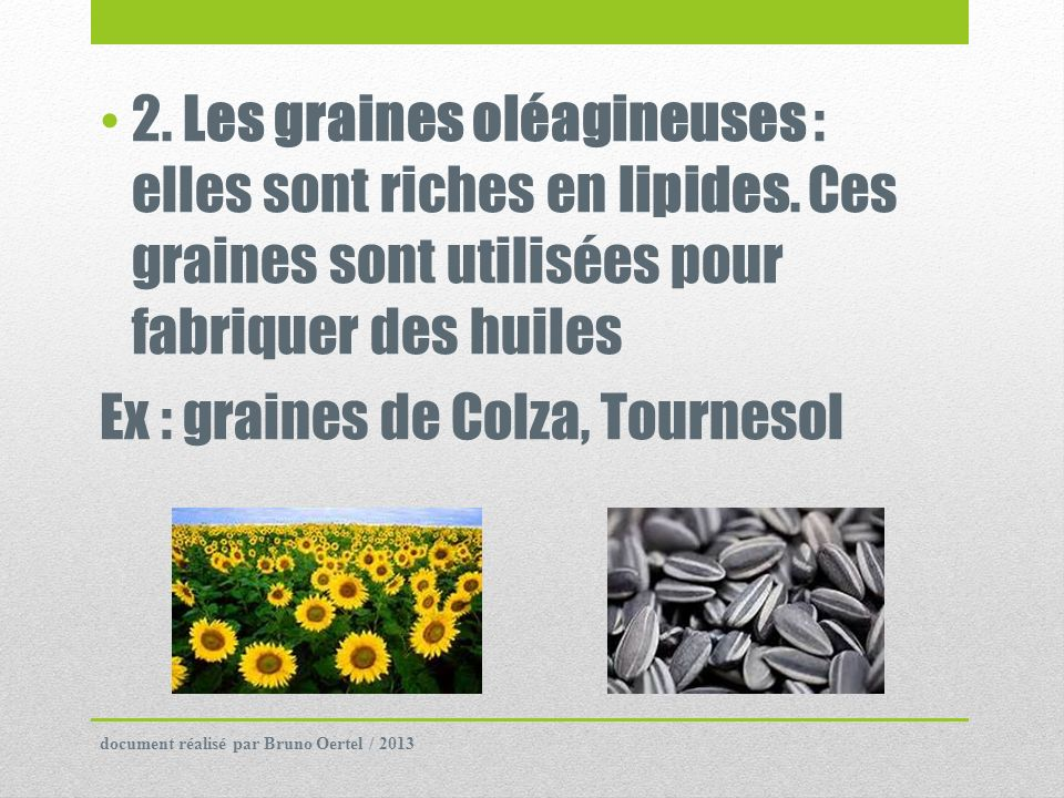 Ex : graines de Colza, Tournesol