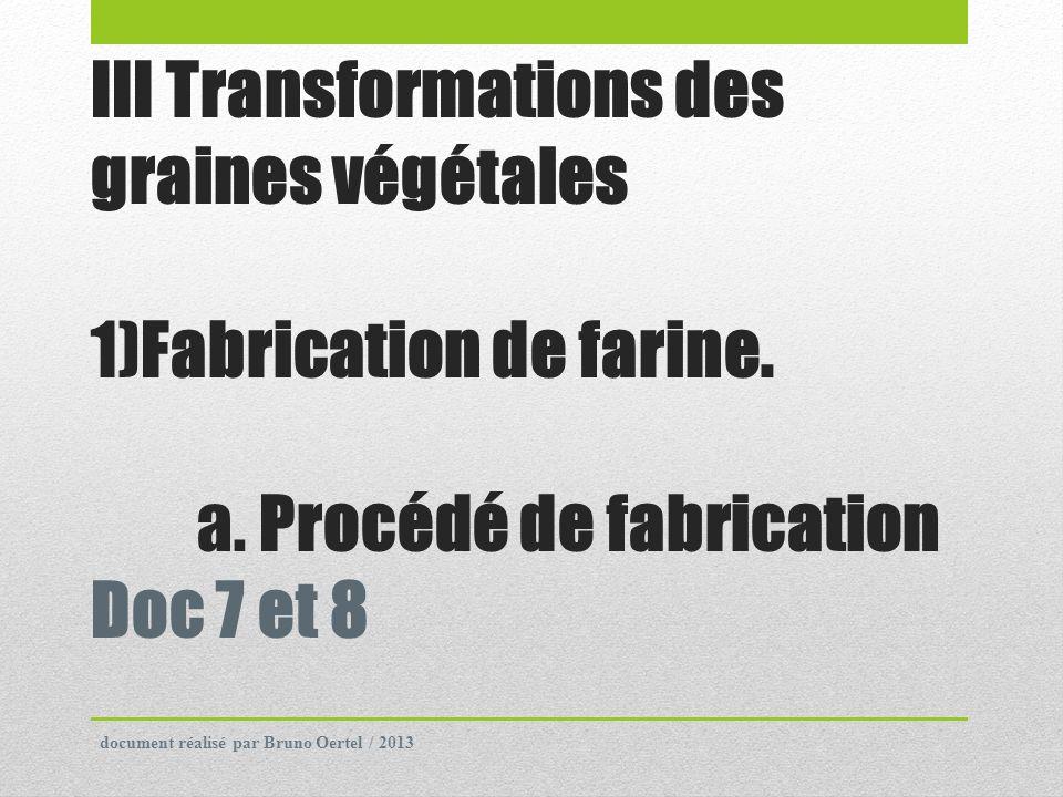 III Transformations des graines végétales 1)Fabrication de farine. a