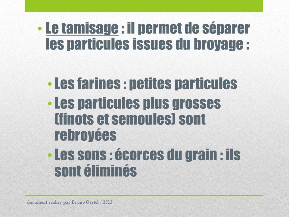 Le tamisage : il permet de séparer les particules issues du broyage :