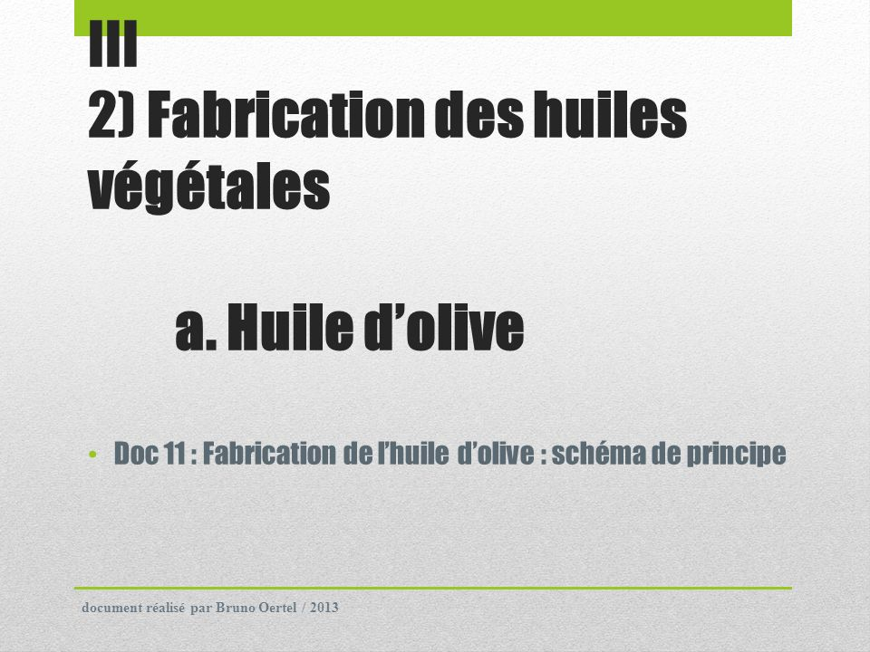 III 2) Fabrication des huiles végétales a. Huile d'olive
