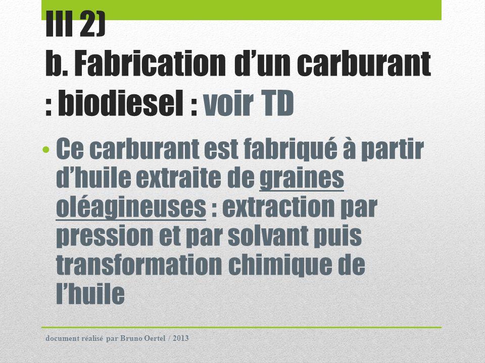 III 2) b. Fabrication d'un carburant : biodiesel : voir TD