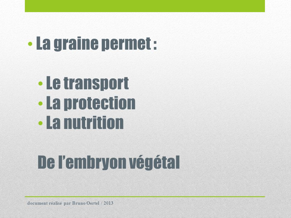 La graine permet : Le transport La protection La nutrition