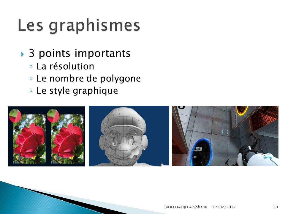 Les graphismes 3 points importants La résolution Le nombre de polygone