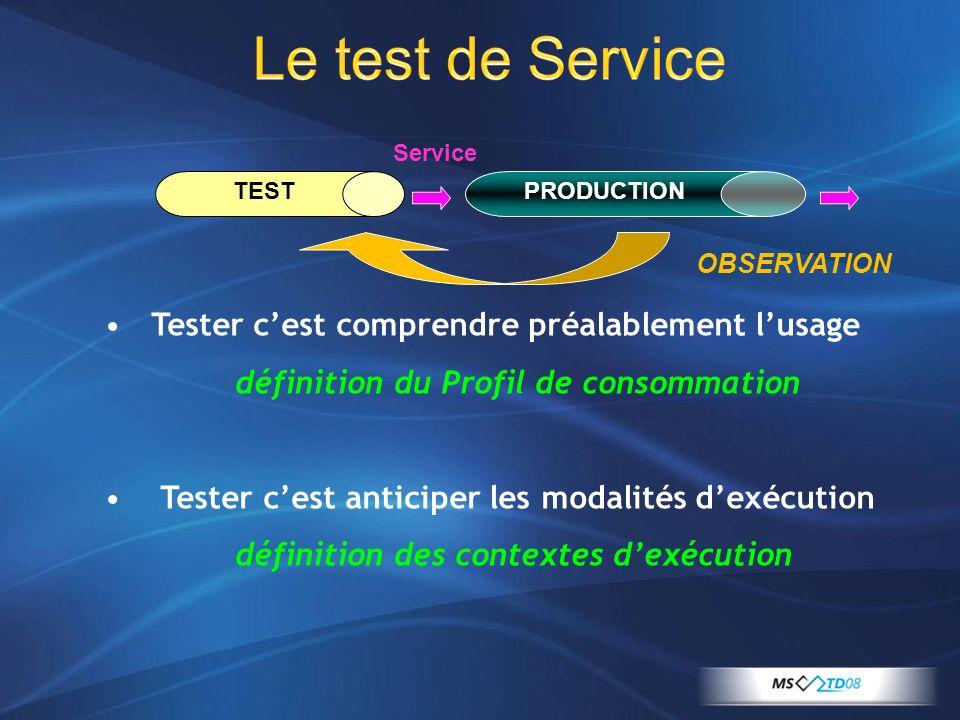 Le test de Service Tester c'est comprendre préalablement l'usage