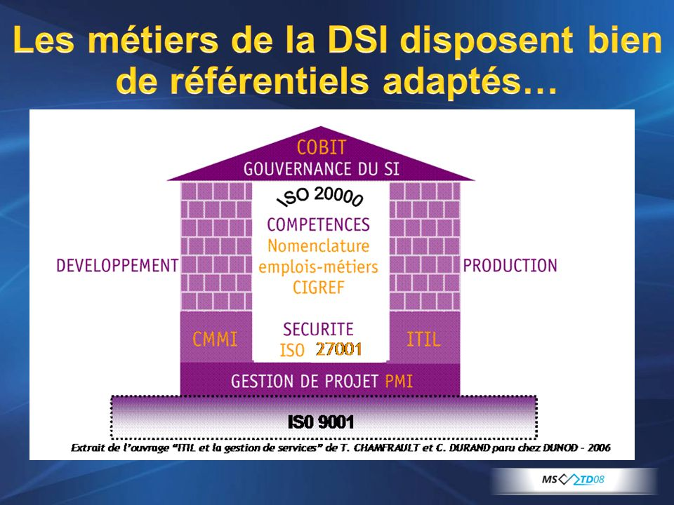 Les métiers de la DSI disposent bien de référentiels adaptés…