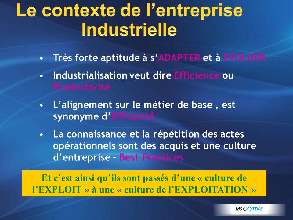 Le contexte de l'entreprise Industrielle