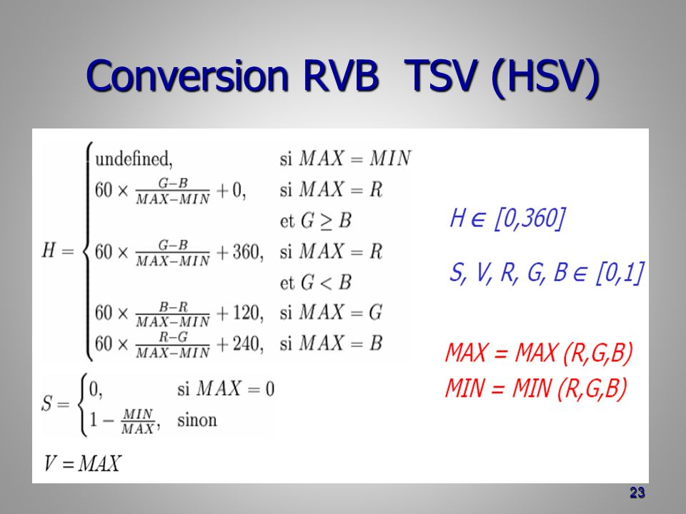 Conversion RVB TSV (HSV)