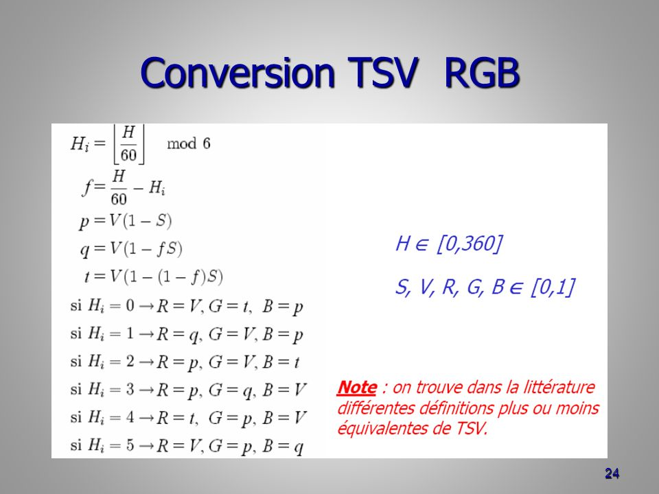 Conversion TSV RGB