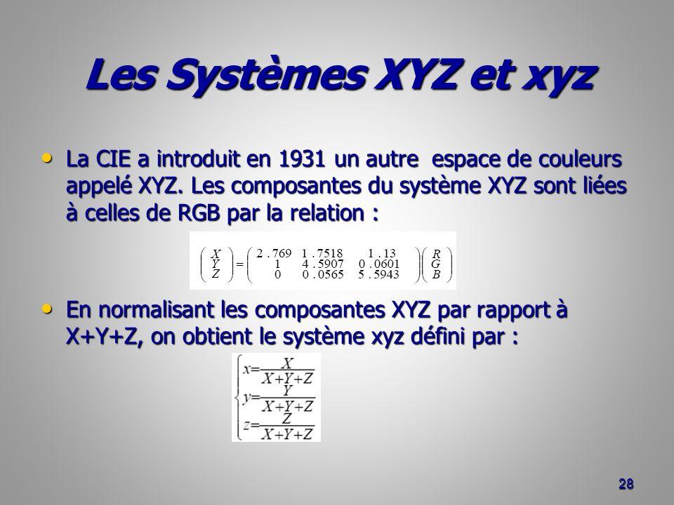 Les Systèmes XYZ et xyz