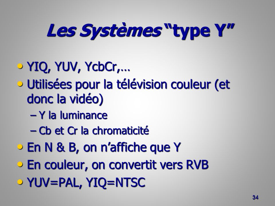 Les Systèmes type Y YIQ, YUV, YcbCr,…