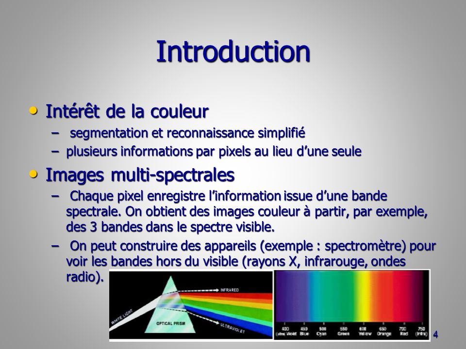 Introduction Intérêt de la couleur Images multi-spectrales
