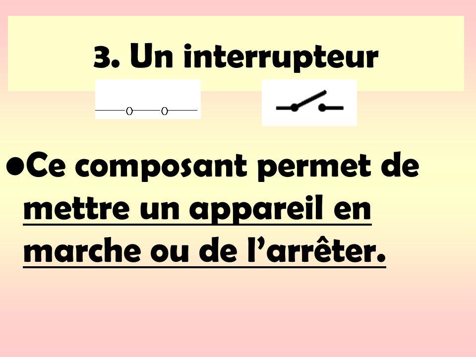 3. Un interrupteur Ce composant permet de mettre un appareil en marche ou de l'arrêter.