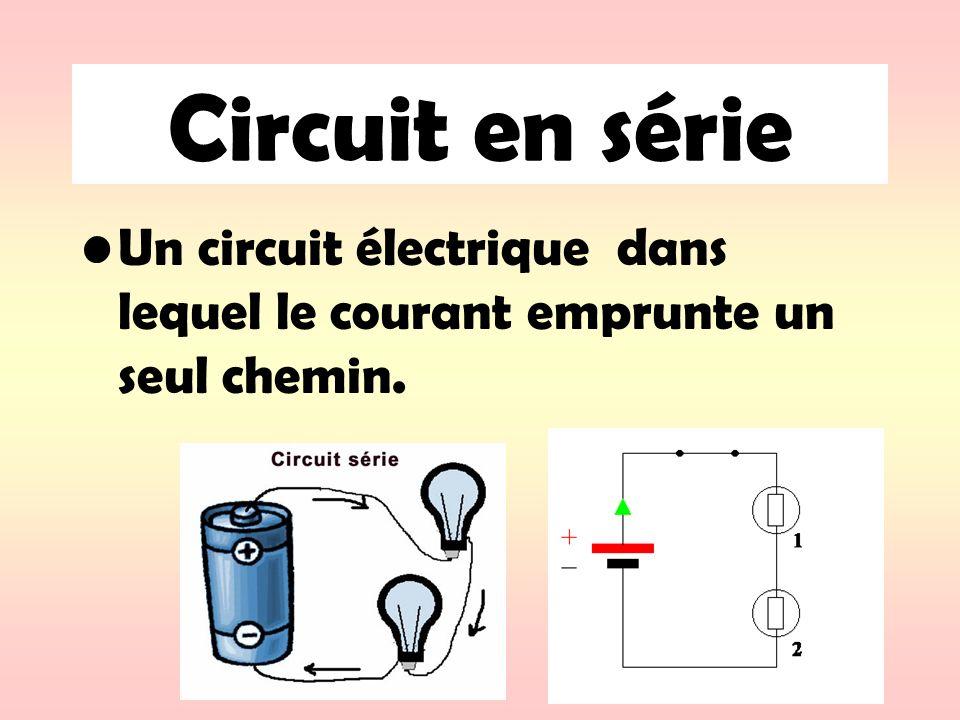 Circuit en série Un circuit électrique dans lequel le courant emprunte un seul chemin.